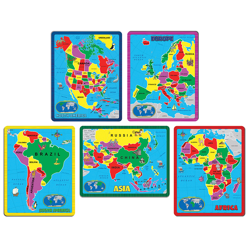 Image for Continent Puzzle Combo Pack, 5 Puzzles