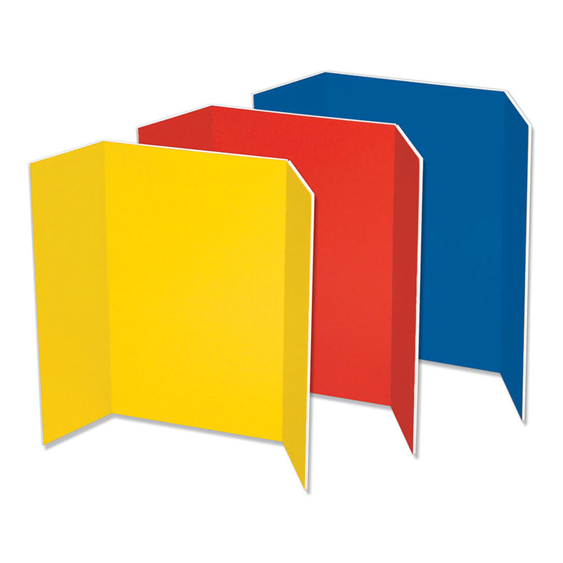 Pacon Corporation Pacon Spotlight Tri-fold Foam Presentation Boards - 48 Height X 36 Width - Blue Foam, Red, Yellow Surface - 6 / Carton