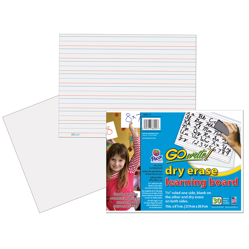 Pacon Corporation Gowrite!® Dry Erase Learning Board - Dry-erase, Two-sided, 3/4 Rule/plain - 11 Width X 8.25 Height - White Surface - Rectangle - No - 30 / Pack