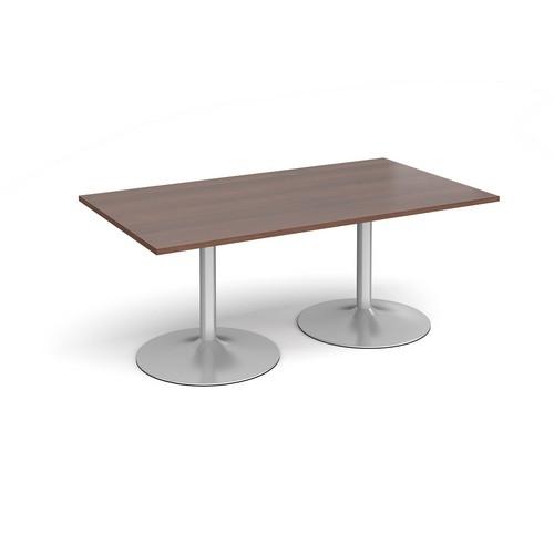 Trumpet Base Rectangular Boardroom Table 1800mm X 1000mm Silver Base Walnut Top
