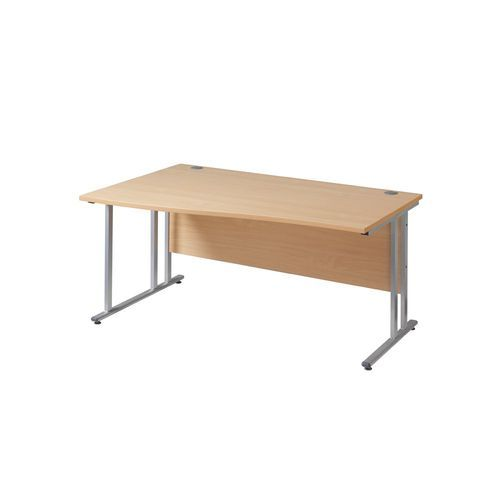 Maestro 25 left hand wave desk 1600mm wide - silver cantilever leg frame and white top