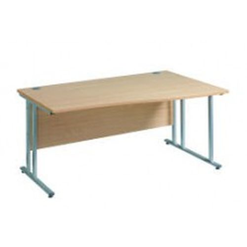 Maestro 25 right hand wave desk 1600mm wide - silver cantilever leg frame and white top