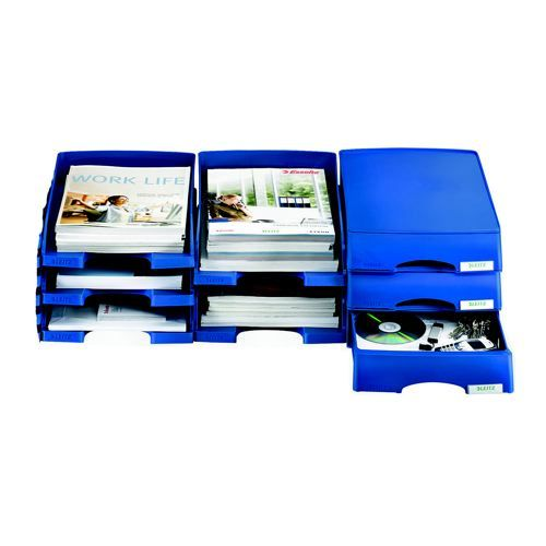 Leitz Plus Letter Tray Robust Polystyrene High Sided With Extra Label Space Blue
