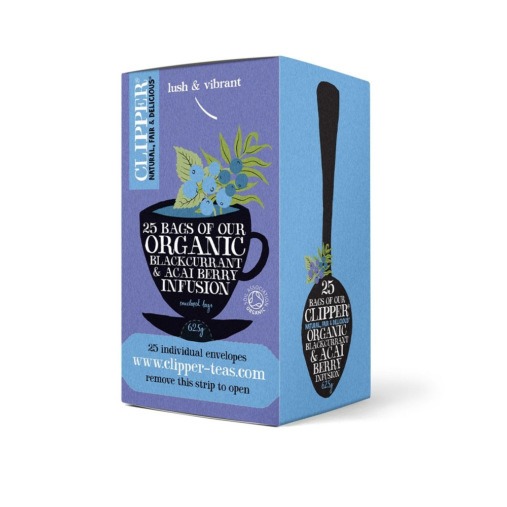 Clipper Organic Blackcurrant and Acai Berry Tea Fairtrade Caffeine-free Teabags Ref A07615 [Pack 25]