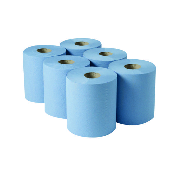 2Work 3-Ply Centrefeed Roll 135m Blue (Pack of 6) 2W00083