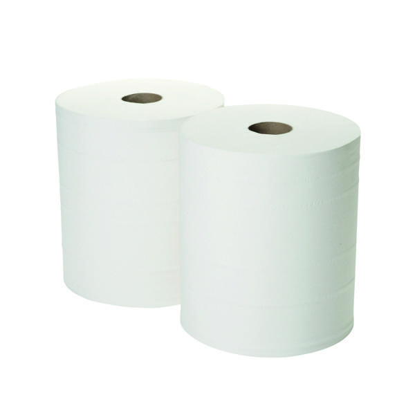 2Work 2-Ply Forecourt Roll 360m White (Pack of 2) 1WH100