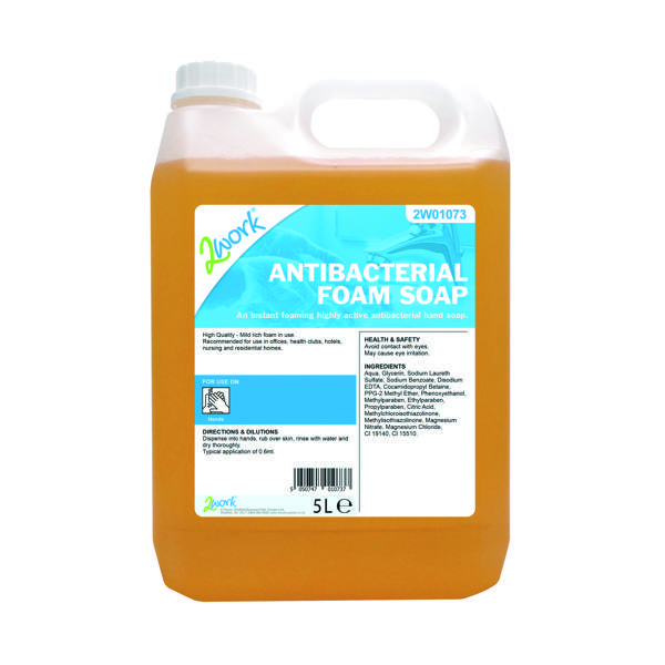 Image for 2Work Antibacterial Foam Soap 5 Litre Bulk Bottle 2W01073
