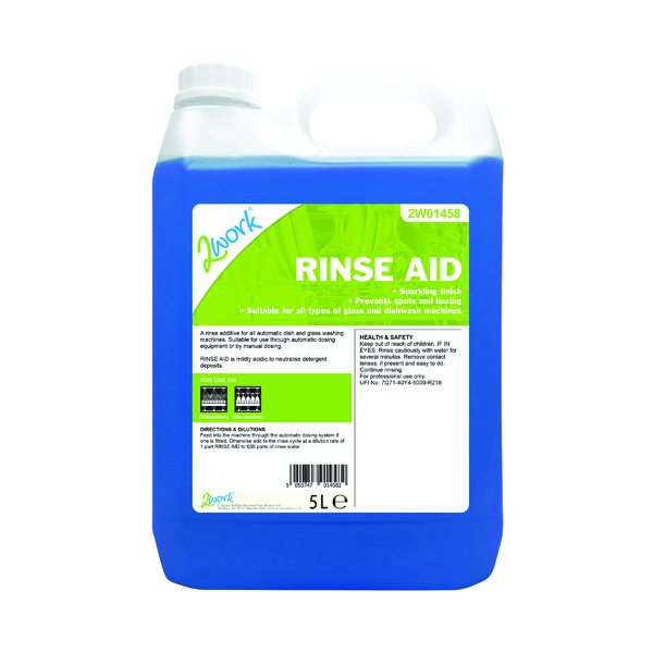 2Work Concentrated Rinse Aid Additive 5 Litre Bulk Bottle 451