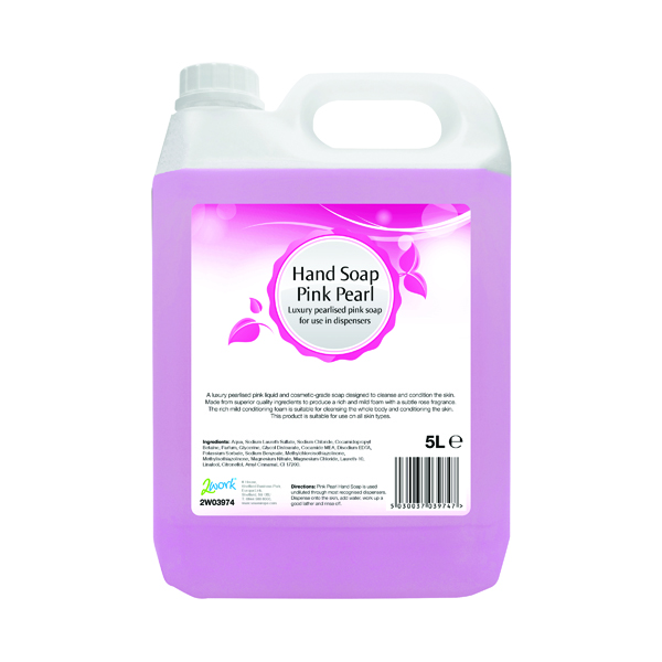 2Work Pink Pearlised Hand Soap 5 Litre Bulk Bottle 402