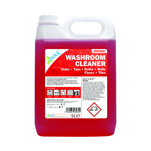 2Work Odourless Washroom Cleaner Concentrate 5 Litre Bulk Bottle 898
