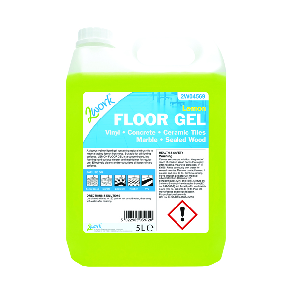 2Work Lemon Floor Gel Concentrate 5 Litre Bulk Bottle