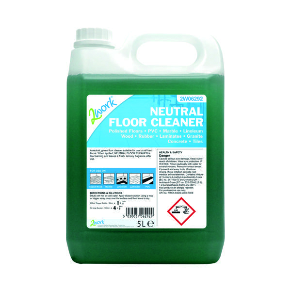 2Work Neutral Floor Cleaner Lemon Fragrance 5 Litre Bulk Bottle