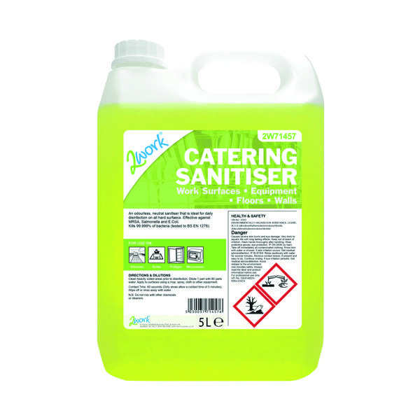 2Work Odourless Catering Sanitiser 5 Litre Bilk Bottle 201TFN