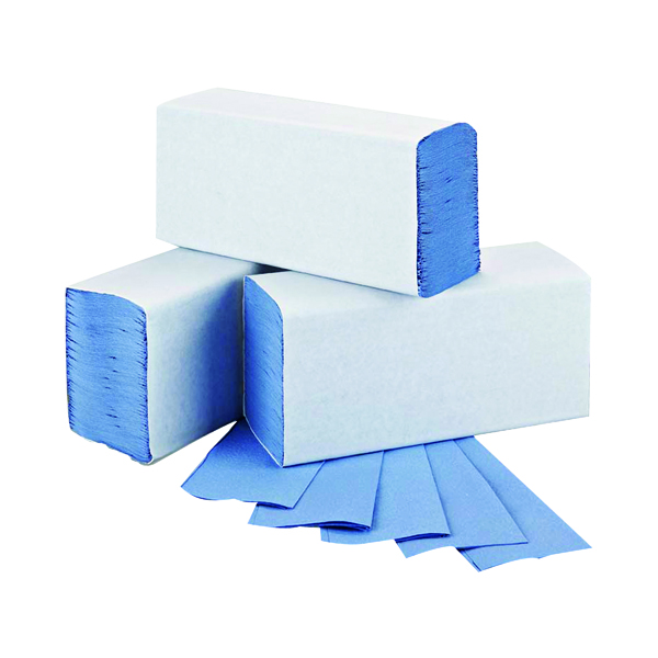 2Work 1-Ply M-Fold Hand Towel Blue (Pack of 3000)