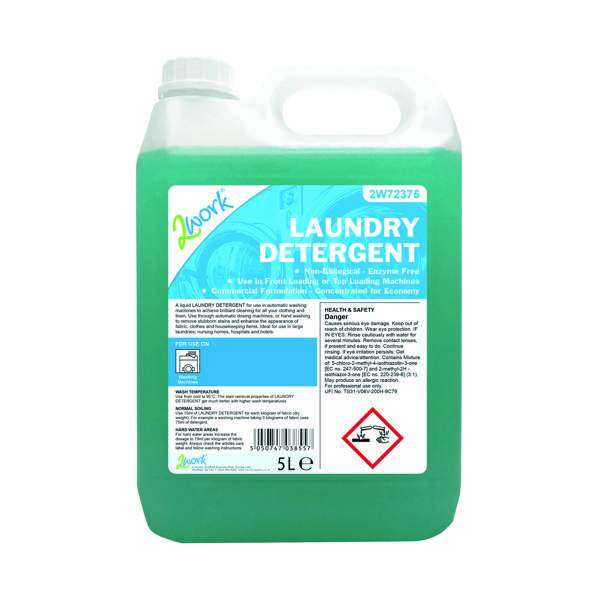 2Work Liquid Laundry Detergent for Auto-Dosing Machines 5 Litre