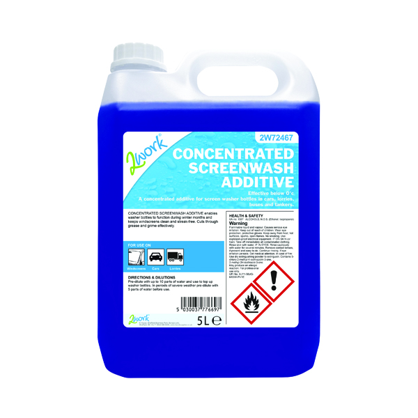 2Work Screen Wash Additive Concentrate Formula 5 Litre