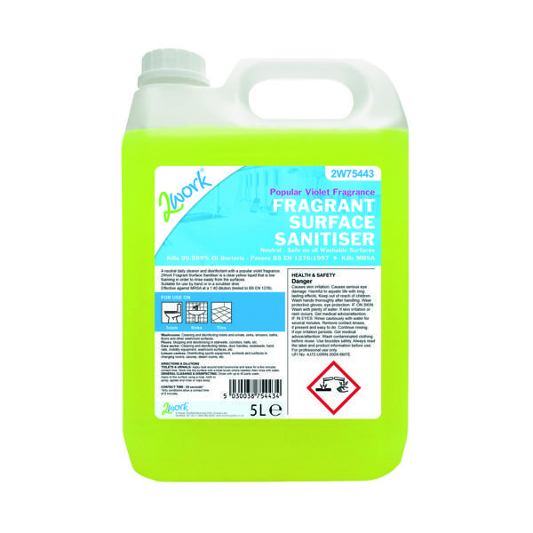 2Work Fragrant Surface Sanitiser 5 Litre Bulk Bottle 2W75443