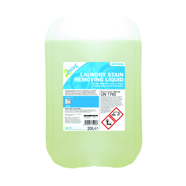 2Work Laundry Stain Removing Liquid 20 Litre Bulk Bottle
