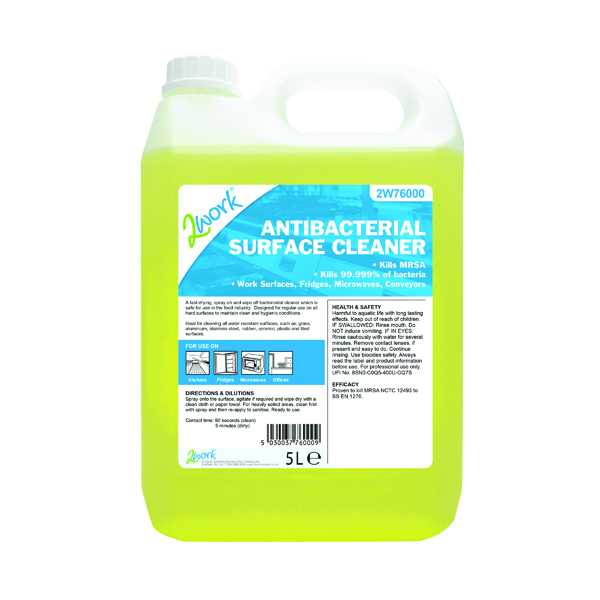 2Work Antibacterial Surface Cleaner 5 Litre Bulk Bottle 242