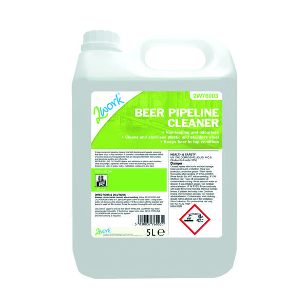 2Work Beer Pipeline Cleaner and Steriliser 5 Litre