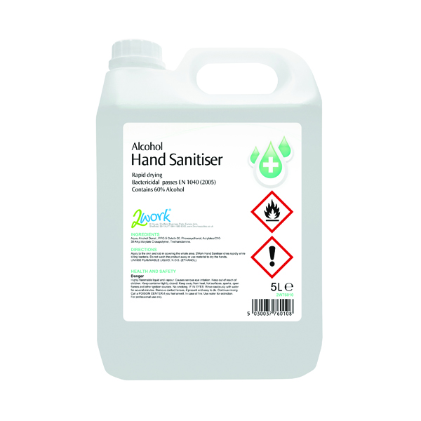 2Work Alcohol-Based Hand Sanitiser 5 Litre Bulk Bottle