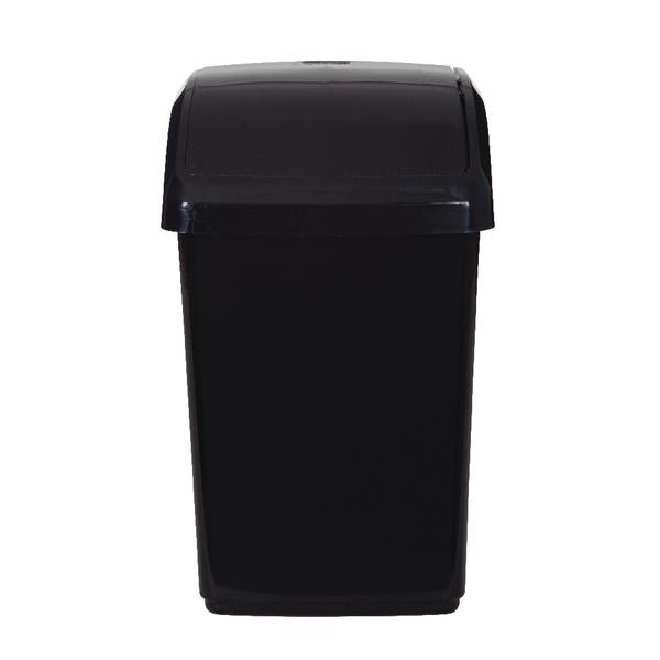 2Work Swing Top Bin 10 Litre Capacity Black