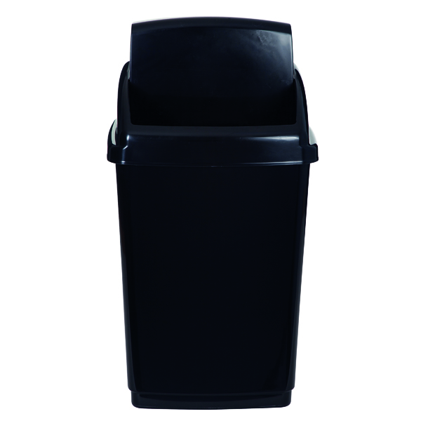 2Work Swing Top Bin 50 Litre Capacity Black