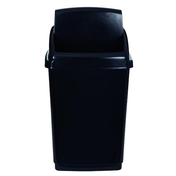 Image for 2Work Swing Top Bin 50 Litre Capacity Black 2W810012