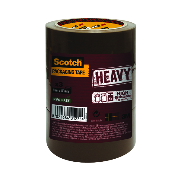 Scotch Packaging Tape Heavy 50mmx66m Brown (Pack of 3) HV.5066.T3.B