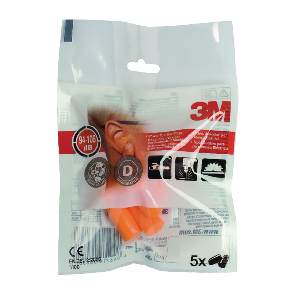 3M Uncorded Ear Plugs 1100 94-105dB Tapered Orange (Pack of 5) XA004837911