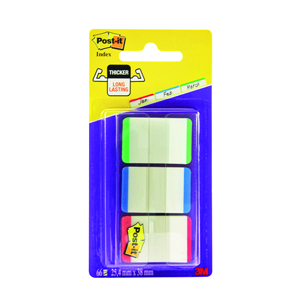 Post-it Strong Index Coloured Tips Red/Green/Blue(Pack of 66) 686L-GBR