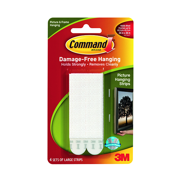 3M Command Picture Hanging Strips Large (Pack of 4) 17206