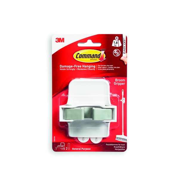 3M Command Adhesive Broom Gripper Self-Adhesive White 17007-ES