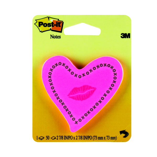 Image for Post-it Notes Heards with Neon Lips Pink 50 Sheets 6370-HTL