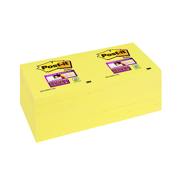 Post-it Super Sticky 76x76mm Canary Yellow (Pack of 12) 654-12SSCY