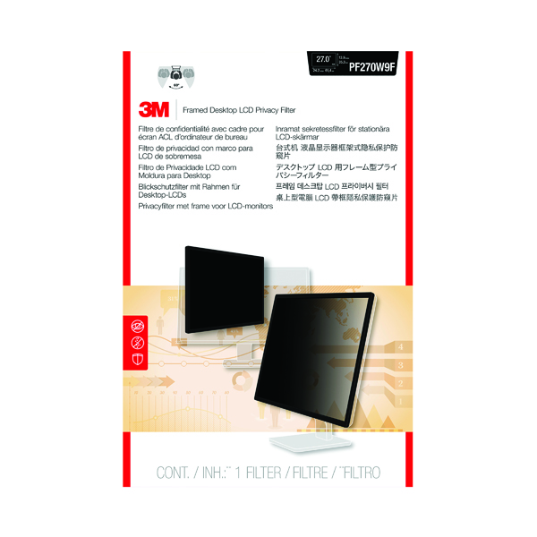 3M Privacy Filter for Widescreen Desktop LCD Monitor 27.0in PF270W9B