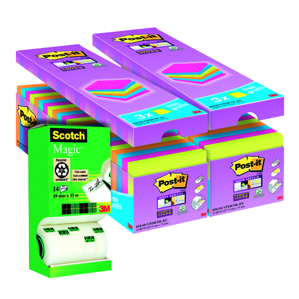 Post-it Notes Super Sticky 76 x 76mm Assorted (Pack of 24) Buy 2 Get FOC Magic Tape