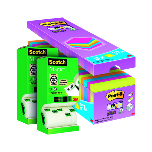 Scotch Magic Tape 19mm x 33m (Pack of 14) Buy 2 Get FOC Post-it Super Sticky Assorted