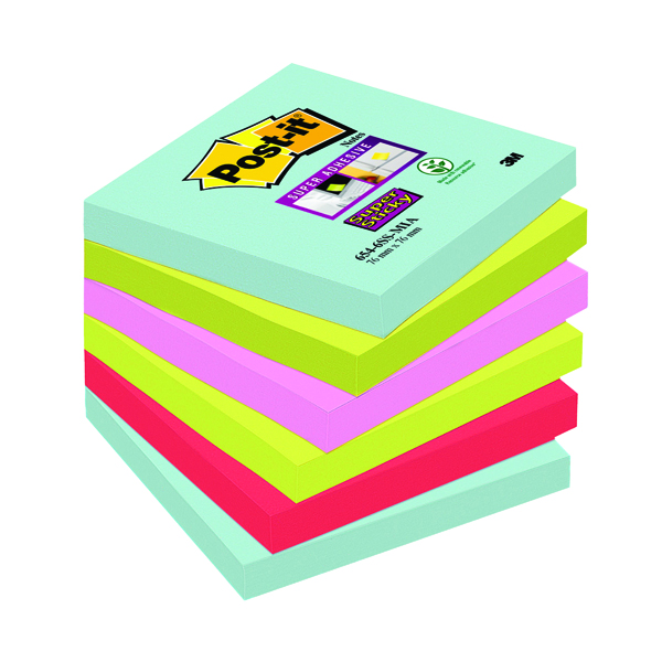 Post-it Super Sticky Notes Miami 76 x 76mm Pack of 6 Buy 2 Get 1 Free