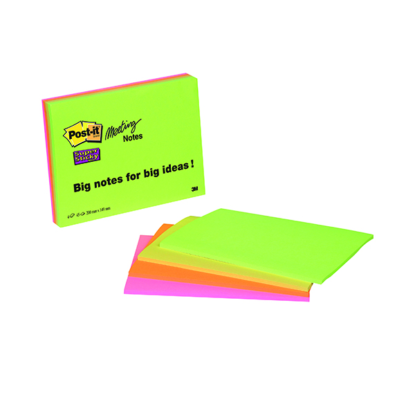 Post-it Super Sticky Meeting 200x149mm Neon Asrtd (Pack of 4) 6845-SSP