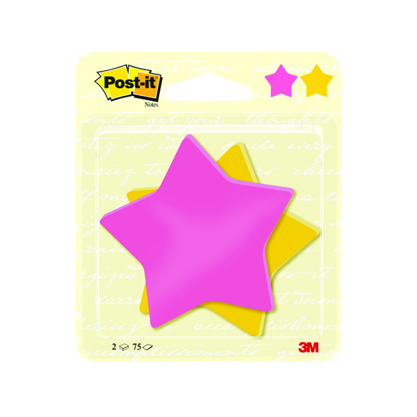 Post-it Notes Star Shape 75 Sheet 70.5 x 70.5mm (Pack of 2) 7100236274