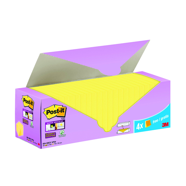 Post-it Super Sticky Notes Canary Yellow Cabinet 76x76mm (Pack of 24)