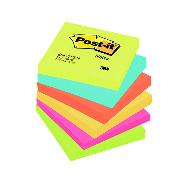 Post-it Notes 76 x 76mm Energy Colours (Pack of 6) 654TF