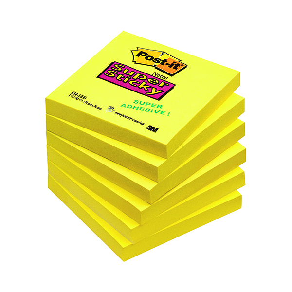 Post-it Notes Super Sticky 76x76mm Ultra Yellow 90 Sheets (Pack of 6) 654-S6