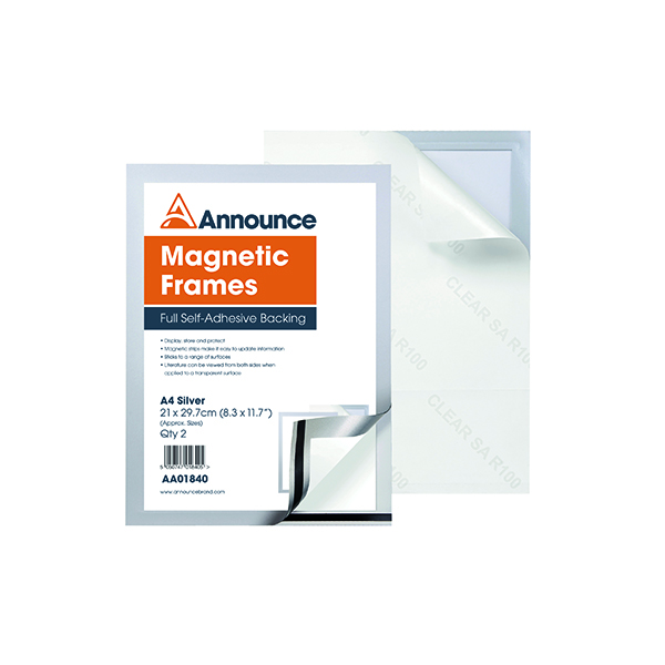 Announce Magnetic Frame A4 Silver (Pack of 2)