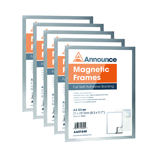 Announce Magnetic Frame A4 Silver (Pack of 5)  Ian Carew