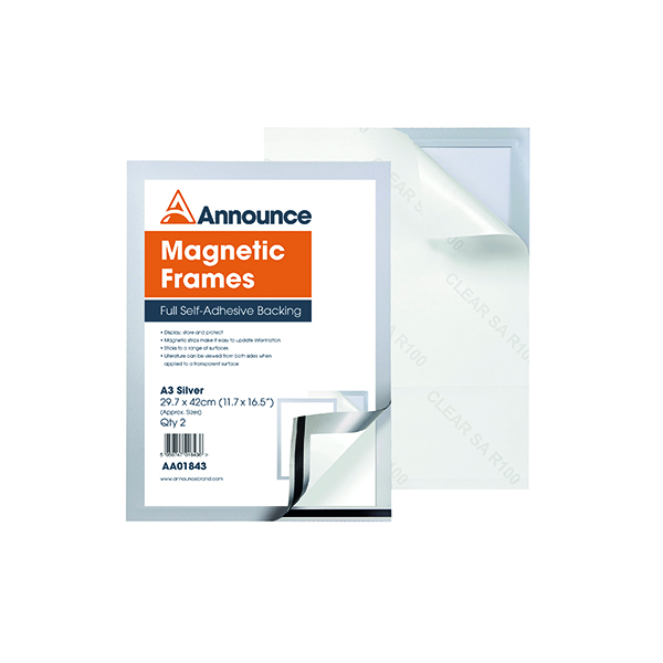 Announce Magnetic Frame A3 Silver (Pack of 2)