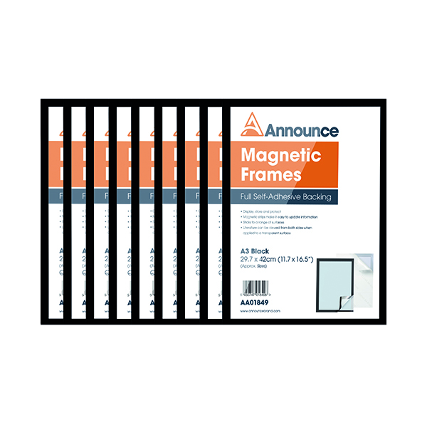 Announce Magnetic Frame A3 Black (Pack of 10) AA01851
