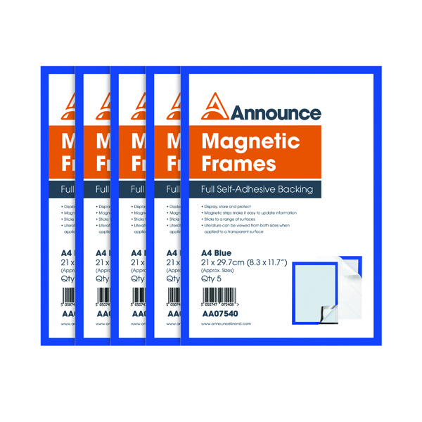 Announce Magnetic Frames A4 Blue (Pack of 5)