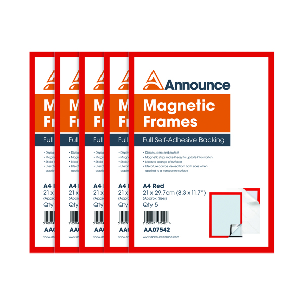 Announce Magnetic Frames A4 Red (Pack of 5)